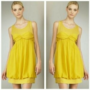 See by Chloe Yellow Silk Bubble Hem Party Dress